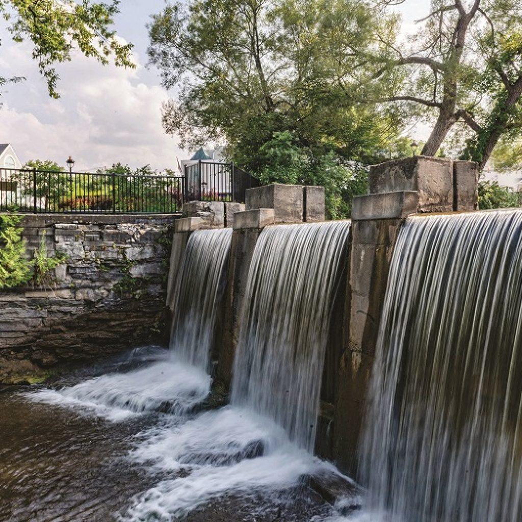 Riverwalk waterfall